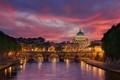 Картинка весна, река, Май, Рим, вечер, собор, город