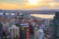 Картинка рассвет, Нью-Йорк, небоскребы, панорама, залив, США, мегаполис