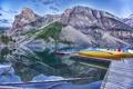Картинка деревья, горы, озеро, лодка, причал, Канада, Альберта
