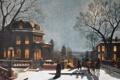 Картинка зима, коттедж, Манхэттен, особняк, Гудзон, View from Upper Manhattan across the Hudson River, Samuel S. ...