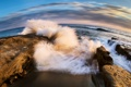 Картинка камни, волна, прибой, Тихий океан