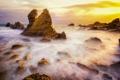 Картинка пляж, камни, океан, скалы, рассвет, California, USА