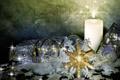 Картинка украшения, обои, свеча, лента, снежинка, голубая, 1920х1080