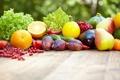 Картинка слива, смородина, груша, фрукты, зелень, баклажаны, овощи