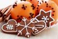 Картинка снежинки, праздник, апельсин, печенье, сердечки, корица, фигурки
