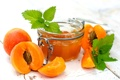 Картинка фрукты, джем, варенье, абрикосы, баночка, абрикосовое