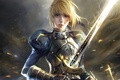 Картинка девушка, меч, saber, anime, art, fate
