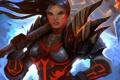 Картинка девушка, ветер, молот, пирсинг, арт, World of Warcraft, доспех