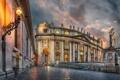 Картинка небо, облака, огни, Рим, Ватикан, собор Святого Петра