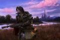 Картинка пейзаж, река, оружие, замок, фантастика, арт, фонарь