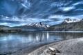 Картинка небо, облака, деревья, горы, озеро, hdr