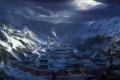 Картинка холод, снег, горы, город, арт, Lara Croft