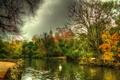 Картинка осень, деревья, HDR, лебедь, речка, Испания, кусты