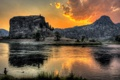 Картинка пейзаж, закат, горы, река, рыбак