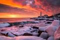Картинка закат, зима, море, маяк