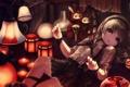 Картинка девушка, огонь, свечи, аниме, арт, фонари, зайцы