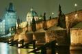 Картинка ночь, огни, река, Прага, Чехия, Влтава, Карлов мост