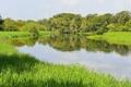 Картинка небо, трава, деревья, пейзаж, река