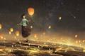 Картинка небо, девушка, звезды, радость, ночь, город, огни