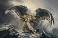 Картинка скала, оружие, крылья, перья, воин, арт, щит