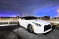Картинка белый, вечер, ниссан, Nissan GT-R