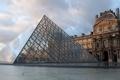 Картинка париж, площадь, пирамида, музей, франция, paris, лувр