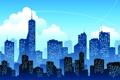 Картинка окна, высотки, город, небо, облака, здания, следы от самолёта