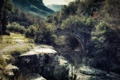 Картинка деревья, горы, мост, река, скалы, поток
