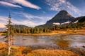 Картинка осень, деревья, горы, камни, скалы, озера, Glacier National Park