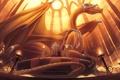 Картинка дракон, человек, арт, лестница, зал, трон, король