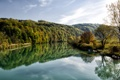 Картинка зелень, лес, вода, деревья, река, лодки
