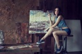 Картинка Girl, Legs, Beautiful, Picture, Oil, Hair, Drawing