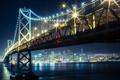 Картинка ночь, мост, огни, река, небоскрёбы