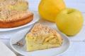 Картинка яблоки, тарелка, пирог, вилка, выпечка, начинка