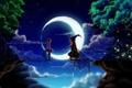 Картинка звезды, деревья, ночь, мост, обрыв, луна, месяц