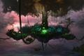 Картинка озеро, дерево, остров, арт, канаты, лианы