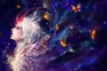 Картинка капли, бабочки, Девушка, рога