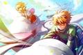 Картинка небо, девушка, полет, аниме, арт, парень, sakura