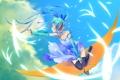Картинка небо, девушка, облака, ленты, наушники, арт, Hatsune Miku