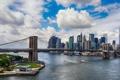 Картинка облака, мост, река, Нью-Йорк, небоскребы, залив, США