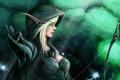 Картинка лес, огни, лук, WoW, World of Warcraft, эльфийка