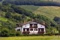 Картинка деревья, дом, поля, склон, Испания, кусты, Navarre