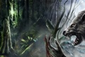 Картинка зелень, лес, туман, кровь, оборотень