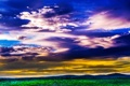 Картинка трава, небо, зарево, поле, горы, тучи