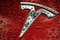Картинка silver, red, logo, Tesla Motors
