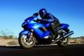 Картинка дорога, небо, синий, скорость, мотоцикл, kawasaki