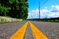 Картинка дорога, деревья, желтый, полосы, улица