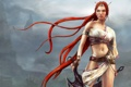 Картинка девушка, горы, туман, воин, рыжие волосы, мечи, Heavenly sword