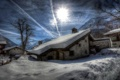 Картинка дом, горы, зима, городок, утро