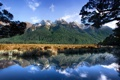 Картинка лес, небо, горы, природа, озеро
